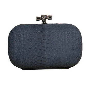 Bottega Veneta intrecciato python vein leather impero ayers knot clutch 11308 royalblue